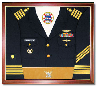 Sample Decorated U.S. Coast Guard Uniform Display Case