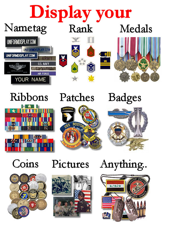 Display your Nametag, Rank Medals, Patches, Badges, Challenge Coins, Pictures, etc...