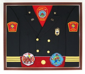 Fire Department Display Case Shadow Box Uniform